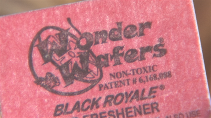 Just prior to entering the wash tunnel, Shi McCray says an attendant handed her a square-shaped air freshener made by a company called Wonder Wafers. (Source: 3TV/CBS 5)