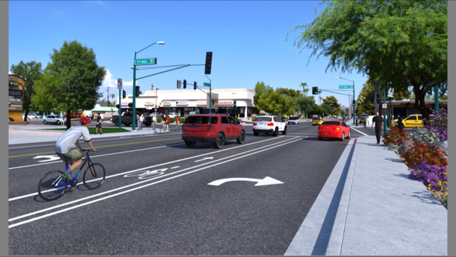 A rendering of a bicycle lane on Missouri Avenue. (Source: City of Phoenix)