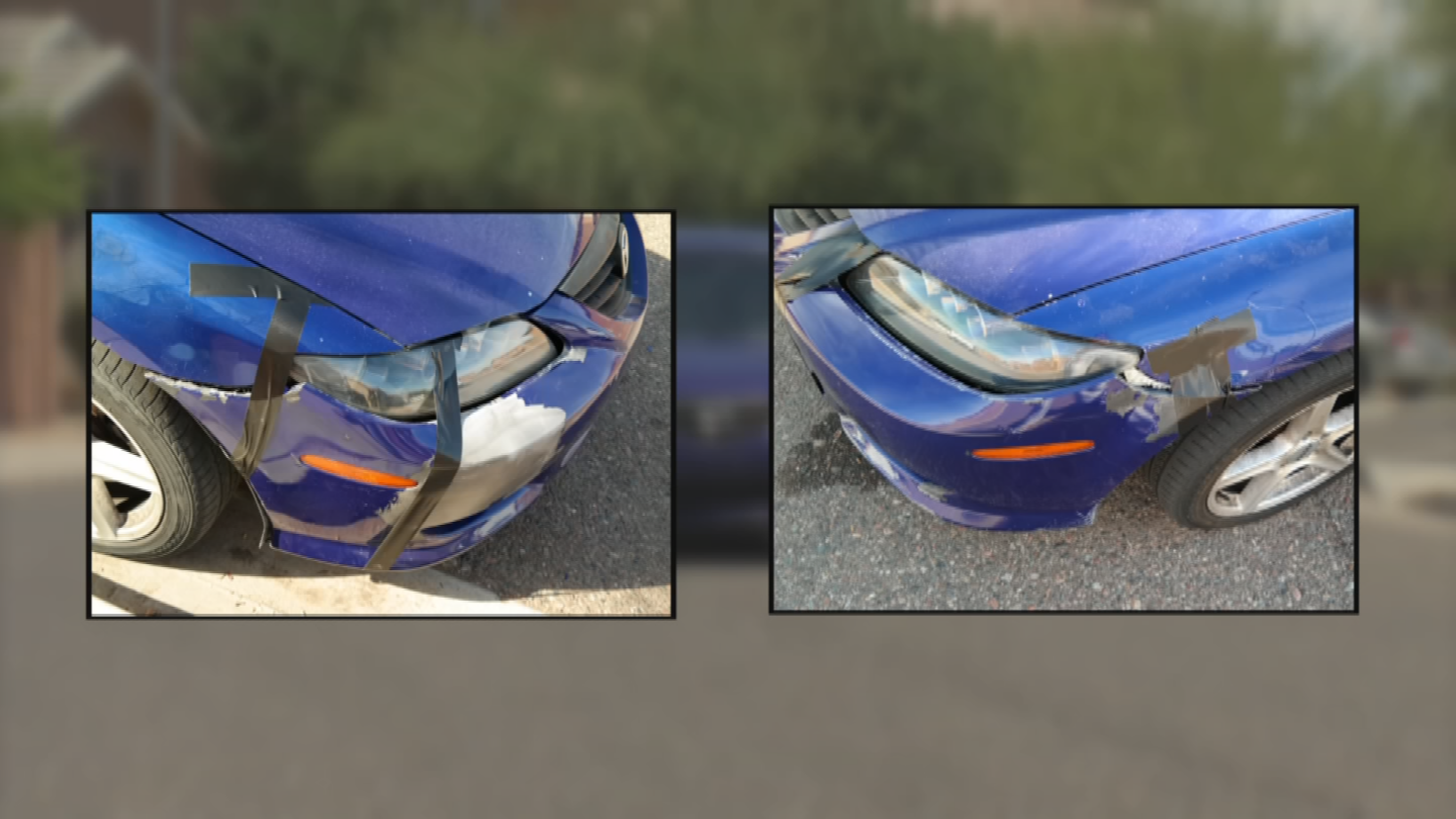 Gonzalez says she duct-taped her bumper in place so it wouldn't fall off,and waited for months. (Source: 3TV/CBS 5)
