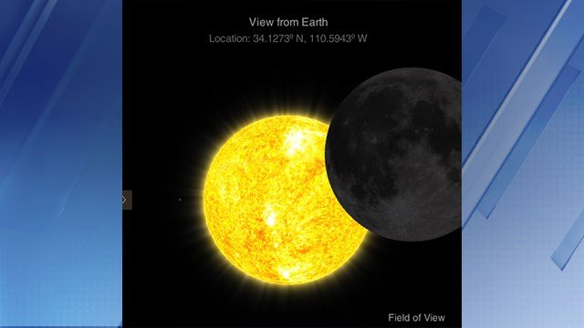 What the eclipse will look like at 9:35 a.m. (Source: NASA)