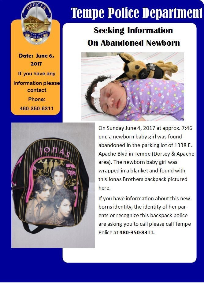 Seeking Information on Abandoned Newborn (Source: Tempe Police)