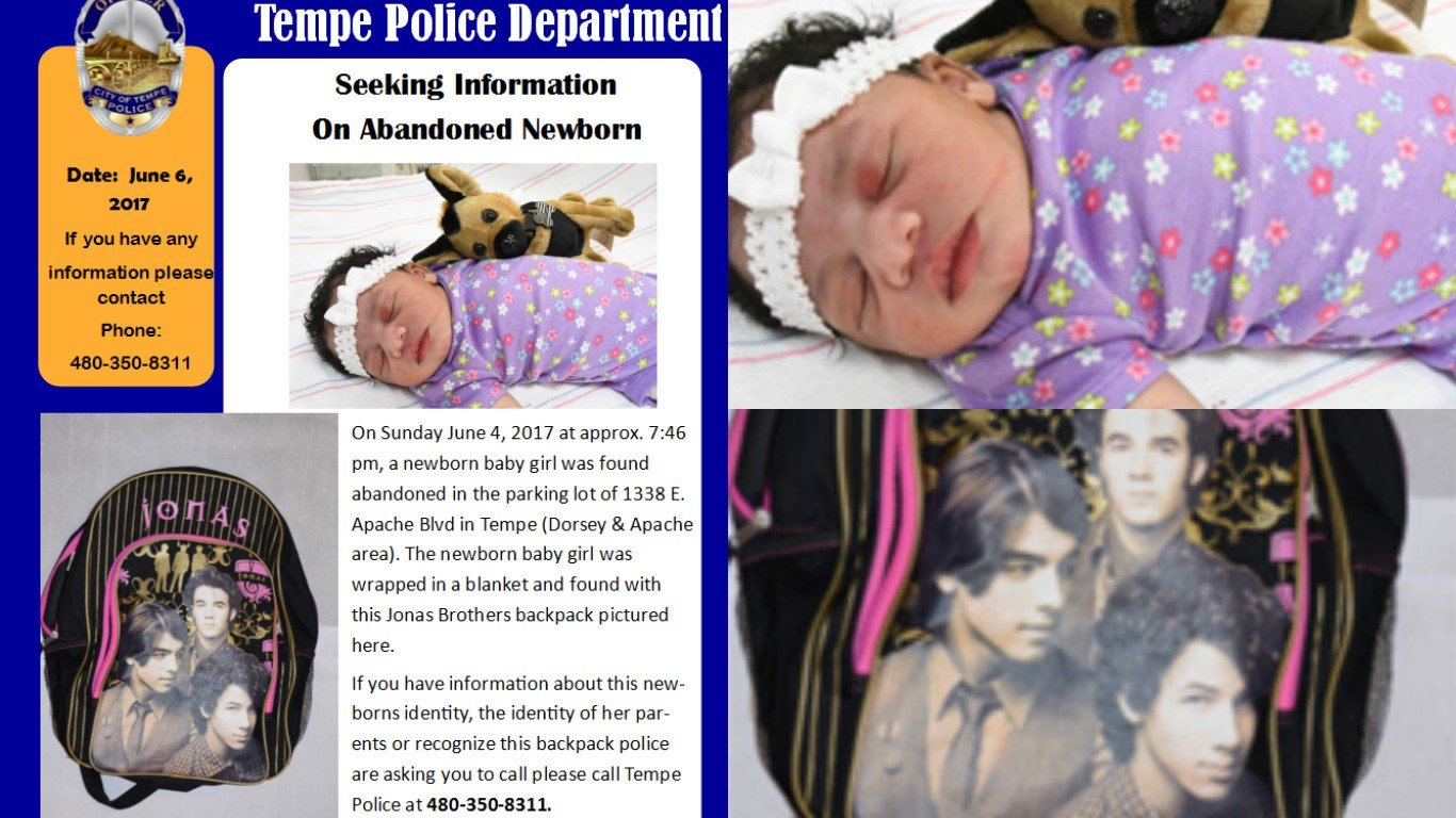 The Tempe Police Dept. released a new image on Wednesday of a baby abandoned on Sunday. (Source: Tempe Police Dept.)