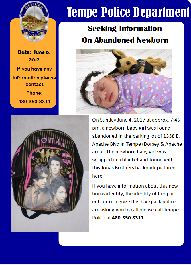 Tempe Police released a flyer asking for more information about the newborn. (Source: 3TV/CBS 5)
