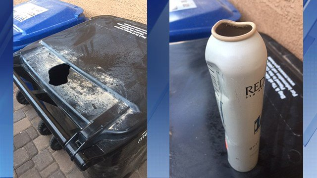 The back of the can warns users not to store in temperatures over 120 degrees. Duke never thought that might include her back yard. (Source: 3TV/CBS 5)