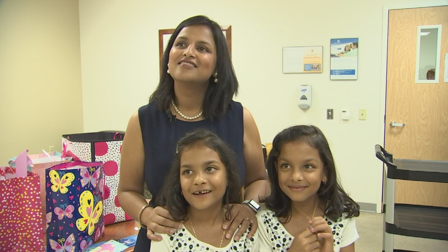 Isha and Diya Goel accompanied by their mother Sunayna Goel visit the NICU at  Cardon Children's Medical Center. (Source: 3TV/CBS 5)