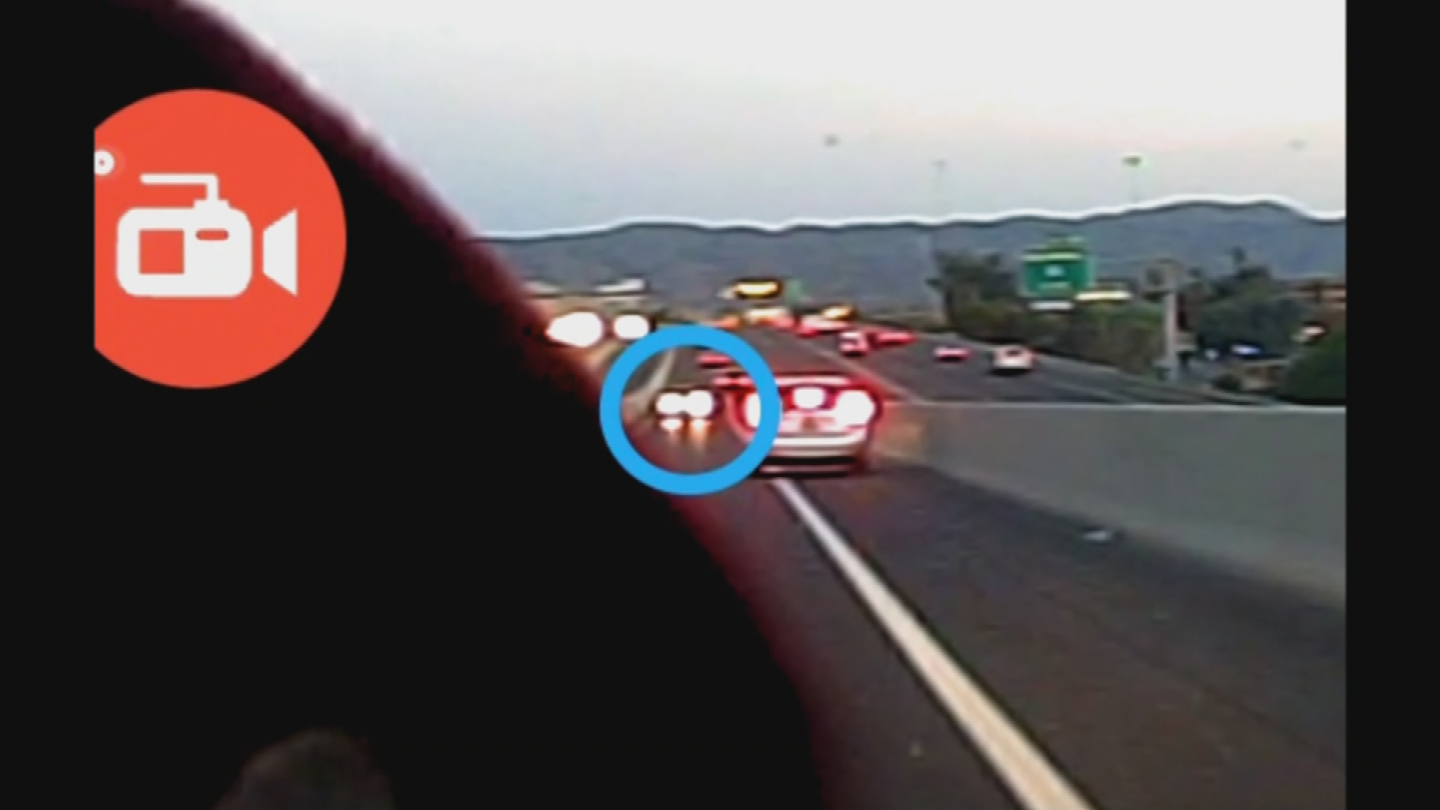 Sara Teague said her dashboard camera caught an image of the wrong-way driver on the Interstate 10 HOV ramp. (Source: 3TV/CBS 5)