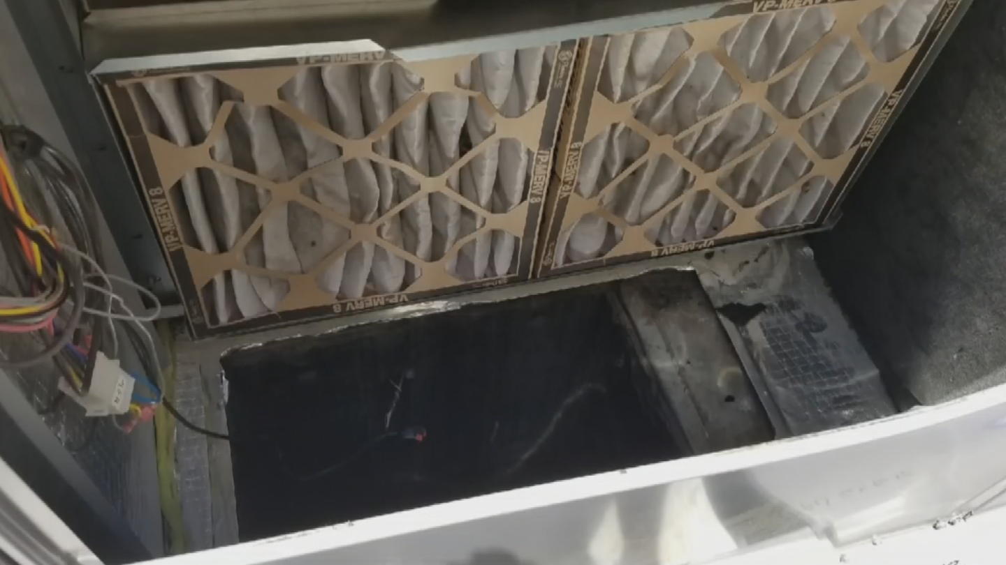 The crook climbed down a narrow air conditioning vent, then crashed through the ceiling tiles and got to work. (Source: 3TV/CBS 5)