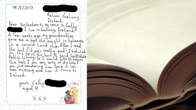 A 9-year-old girl wrote to Scottsdale Public Library to return an old book. (Source: City of Scottsdale)