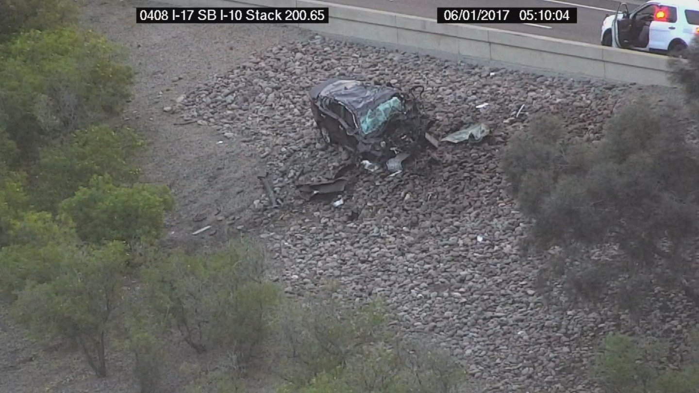 A Phoenix man driving the wrong way on a different freeway ramp was killed early Thursday morning when his car collided with a truck and then fell onto a ramp below. (Source: 3TV/CBS 5)