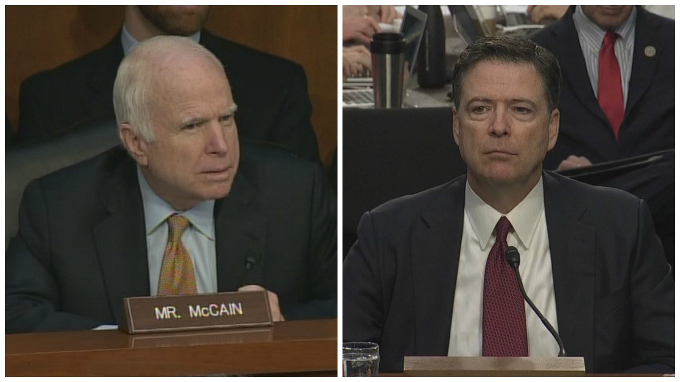 Sen. John McCain (left) says his sometimes confusing line of questions to fired FBI Director James Comey was aimed at getting Comey to say whether he believes President Donald Trump had obstructed justice. (Source: 3TV/CBS 5)