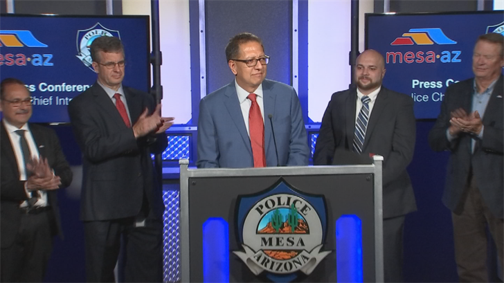 New Mesa police chief Ramon Batista is introduced on Thursday morning. (Source: 3TV/ CBS 5)