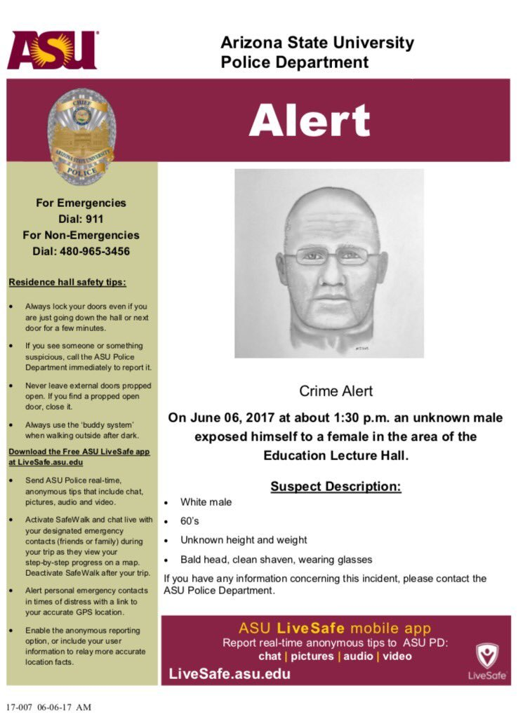 The flyer ASU is passing out about the suspect. (Source: Arizona State University Police Department)