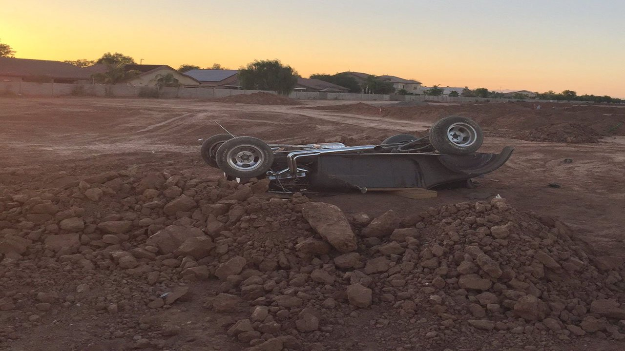 A single-vehicle rollover left two seriously injured. (Source: Gilbert Fire Rescue)