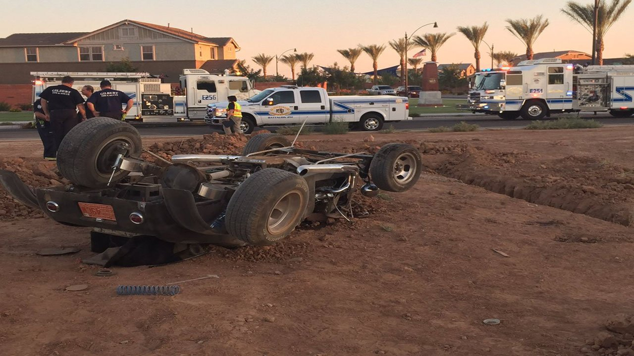 The driver and passenger were transported to a local trauma center. (Source: Gilbert Fire Rescue)