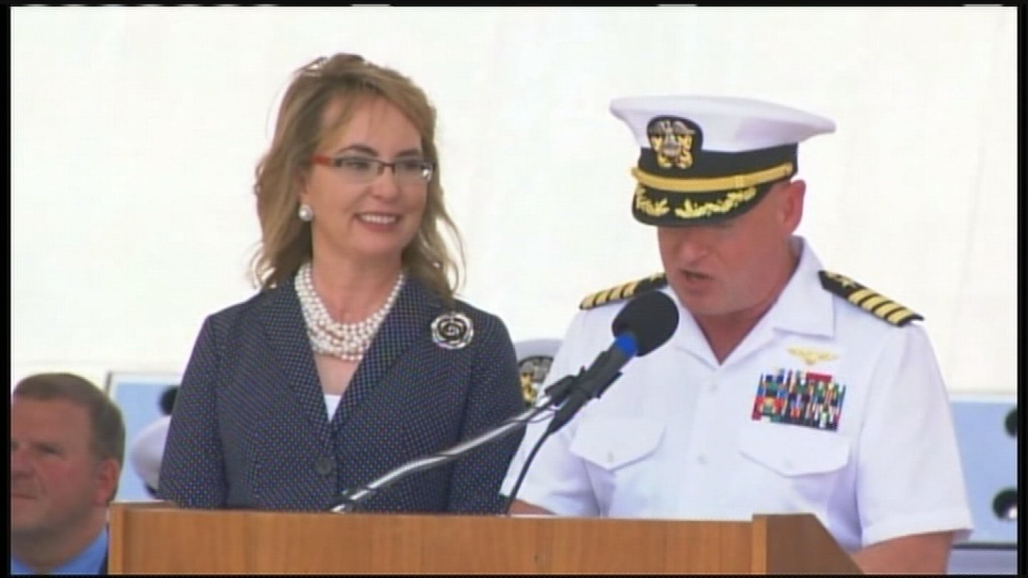 Gabrielle Giffords and her husband, Mark Kelly speak at the commission of the USS Gabrielle Giffords in Galveston, Texas. (Source: CNN Newsource)