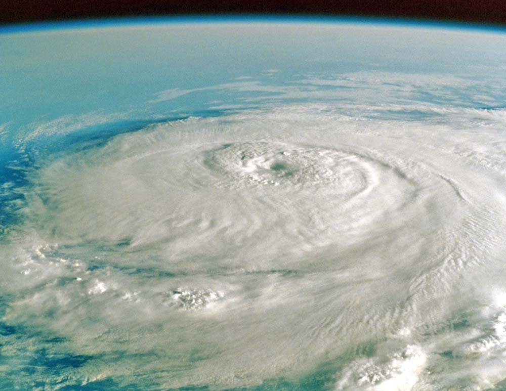 Image of a Hurricane from space from the Farmer Almanac.