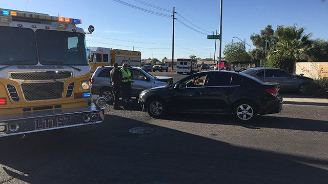 Two people were injured in a crash involving three vehicles in Glendale on Saturday. (Source: 3TV/CBS 5)