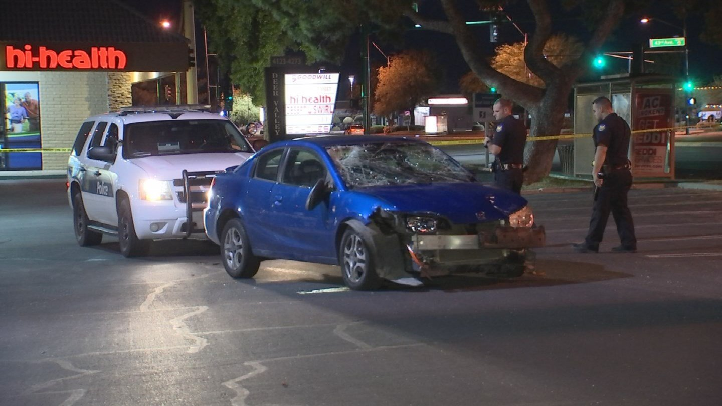 Phoenix police are investigating after a car ran into a crowd early Sunday morning near 43rd Avenue and Thunderbird Road. (3TV/ CBS 5)