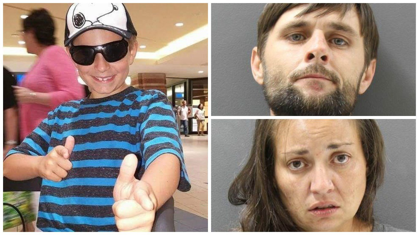 Daniel Terry, 36, (top right) and his girlfriend, 34-year-old Julianna Moreno were arrested after police found Christian Pearson, 10, (left)  beaten, bound and burned. (Source: Family and Yavapai County Sheriff's Office)