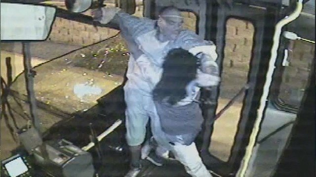 Surveillance video captured a violent encounter between two passengers on a Kansas City bus that sent one man crashing through a bus window. (Source: Kansas City Area Transportation Authority)