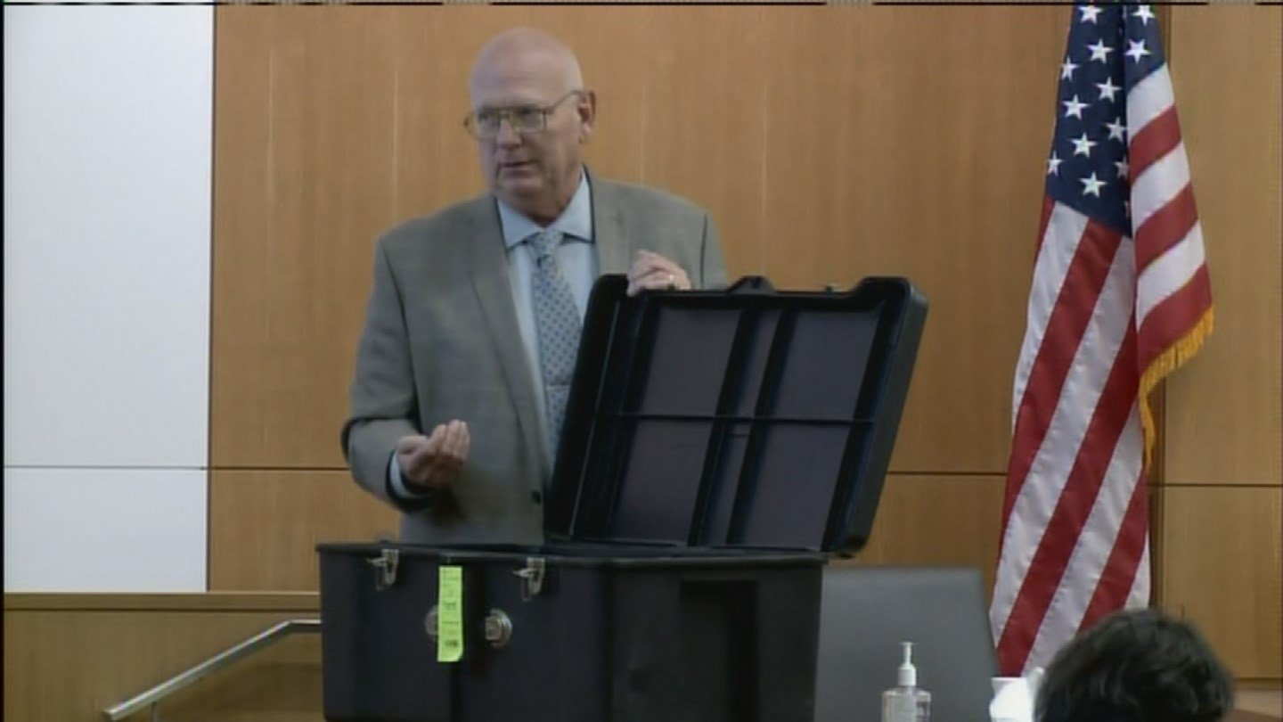 A replica box is shown to the jury in addition to the actual container Ame Deal was allegedly locked inside. (Source: 3TV/CBS 5)