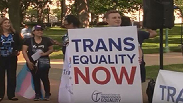Transgender advocates Friday rallied outside the Capitol after a day spent lobbying members of Congress in support of a Democratic bill that would extend legal protections to transgender people. (Source: Emma Lockhart/Cronkite News)