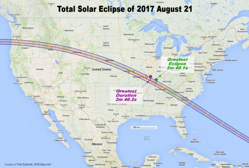 Path of totality for this year's solar eclipse (Source: NASA)