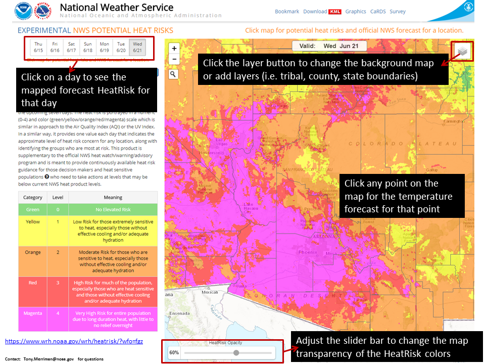 How to use the HeatRisk mapping tool. Click image to enlarge. (Source: National Weather Service)