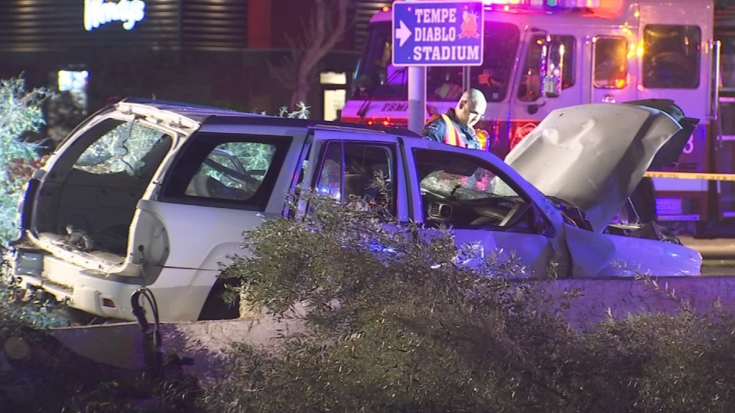 A white SUV veered off the road, hitting and killing a pedestrian. (Source: 3TV/CBS 5)