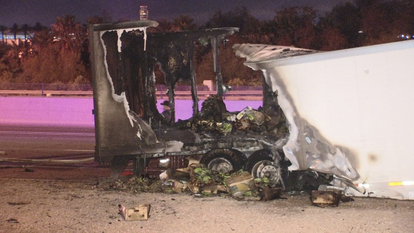 A semi-trailer full of bananas caught fire on the I-10 Friday morning. (Source: 3TV/CBS 5)