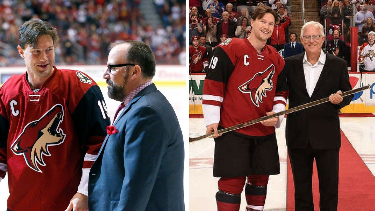 Anthony LeBlanc (left) and Gary Drummond, both picture with Shane Doan, have stepped down from their front-office duties. (Source: Arizona Coyotes and AP)