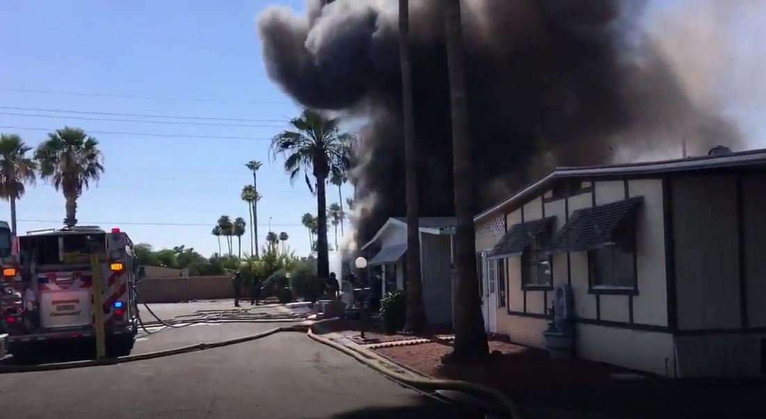 Firefighters battled a mobile home fire in Scottsdale on Saturday. (Source: Scottsdale Fire Department)