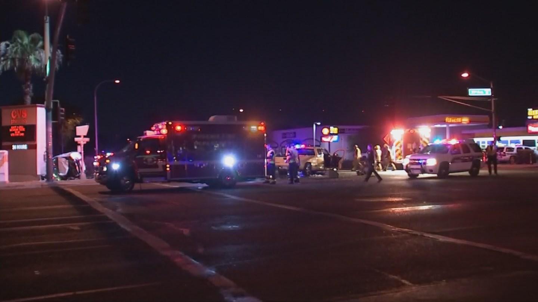 The scene following the rollover crash (Source: 3TV/ CBS 5)