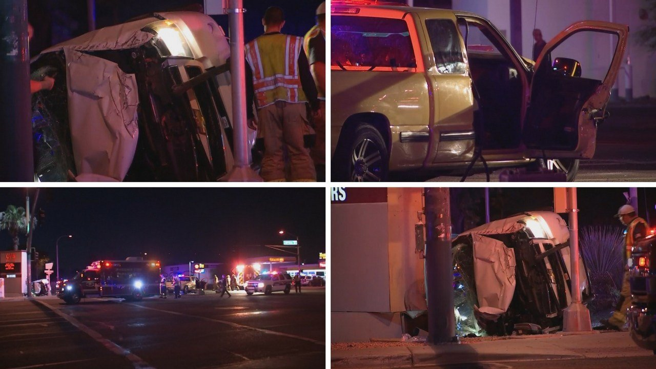 2 Phoenix police officers and a civilian were hurt following a rollover crash 35th and Glendale Avenues (Source: 3TV/ CBS 5)