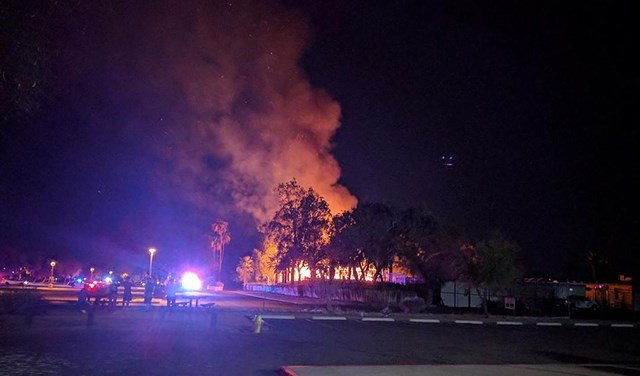 Firefighters put out a blaze at Big Surf water park in Tempe on Sunday night. (Source: Theresa W.)