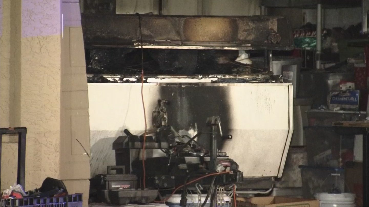 A pop-up trailer caught fire inside a Chandler garage. (Source: 3TV/CBS 5)