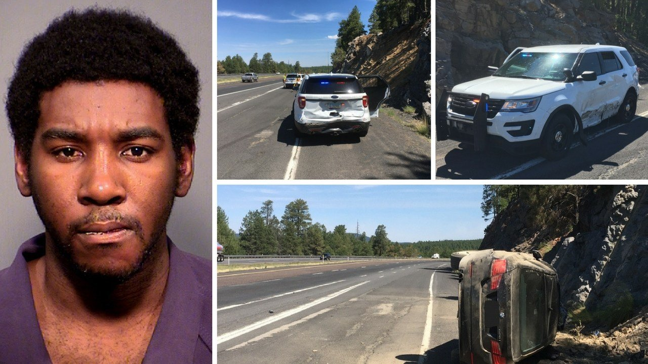 A naked man pummeled a patrol vehicle with his fists and car while his son sat in the passenger seat. (Source: Arizona Department of Public Safety)