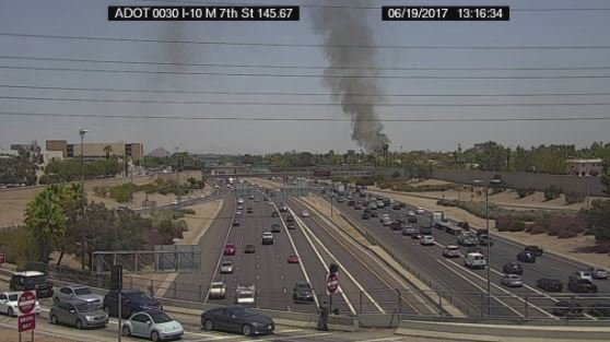 Smoke from a house fire near the downtown area. (19 June 2017) [Source: Arizona Dept. of Transportation]
