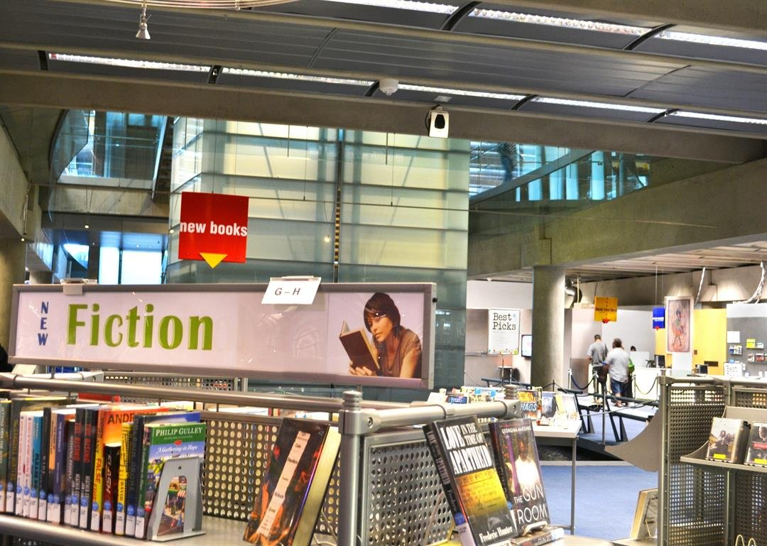New books are displayed at Burton Barr Central Library in downtown Phoenix. (Source: Lauren Marshall/Cronkite News)