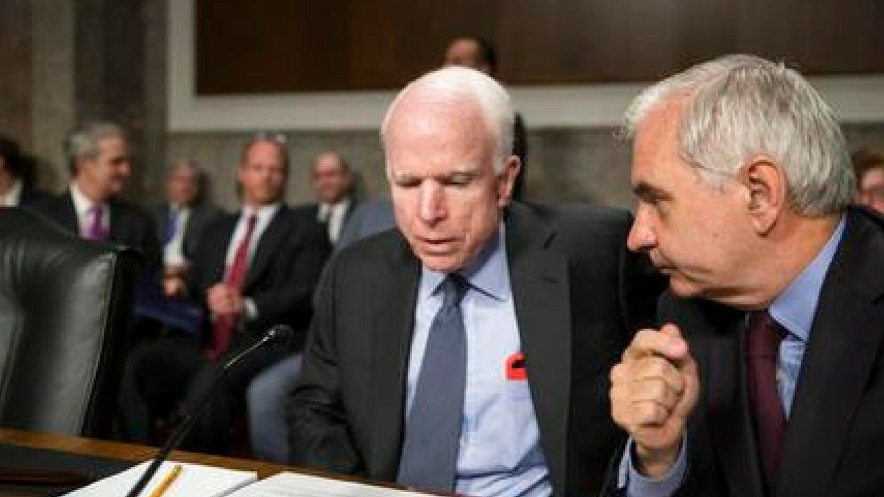 Senate Armed Services Committee Chairman John McCain, R-Ariz., left, confers with Sen. Jack Reed, D-R.I., the ranking member, at the start of a hearing at the Capitol in Washington, Tuesday, June 20, 2017. (AP Photo/J. Scott Applewhite)