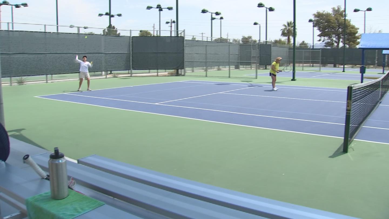 Despite the heat wave, people still hit the tennis court. (Source: 3TV/CBS 5)