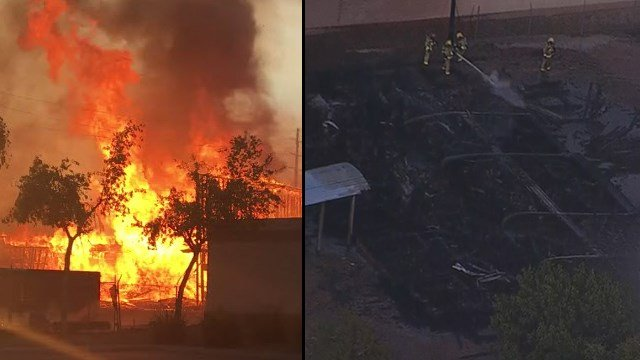 A home under construction went up in flames on Tuesday in Chandler. (Source: Connor Chamalbide/3TV/CBS 5)