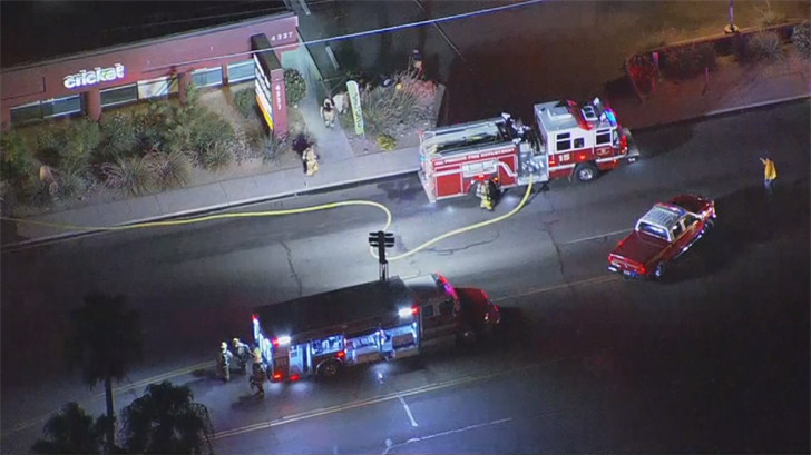A fire started at a vacant strip mall in Phoenix. (Source: 3TV/CBS 5)