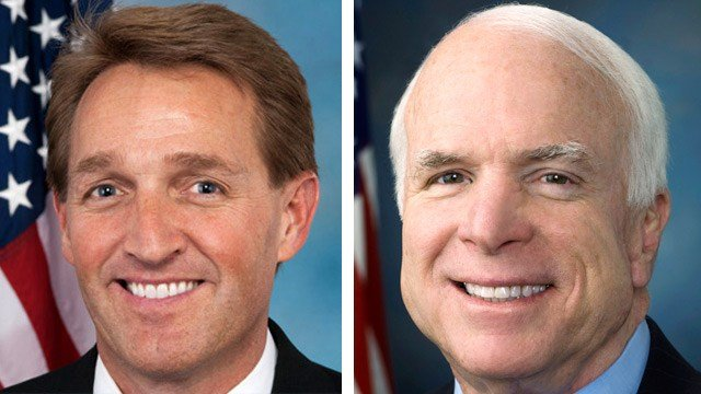 Jeff Flake, left, and John McCain, Arizona's two U.S. senators, heard concerns about a health care overhaul bill. (Source: 3TV/CBS 5)