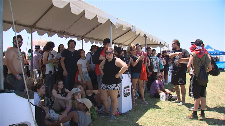 Many concert-goers stayed in the shade as much as possible. (Source: 3TV/CBS 5)
