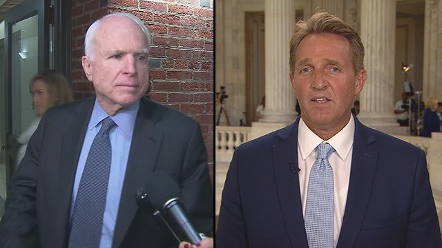 Sen. John McCain, left, and Sen. Jeff Flake, right, both have said they are looking over the Senate health care bill but haven't commented more. (Source: CBS/CNN)