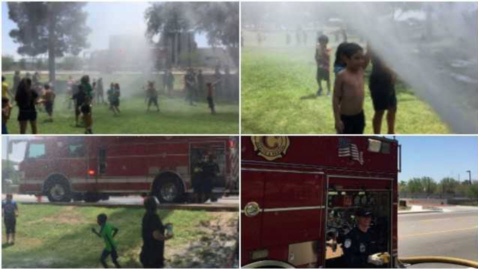 Chandler fire crews help kids keep cool (Source: Facebook)