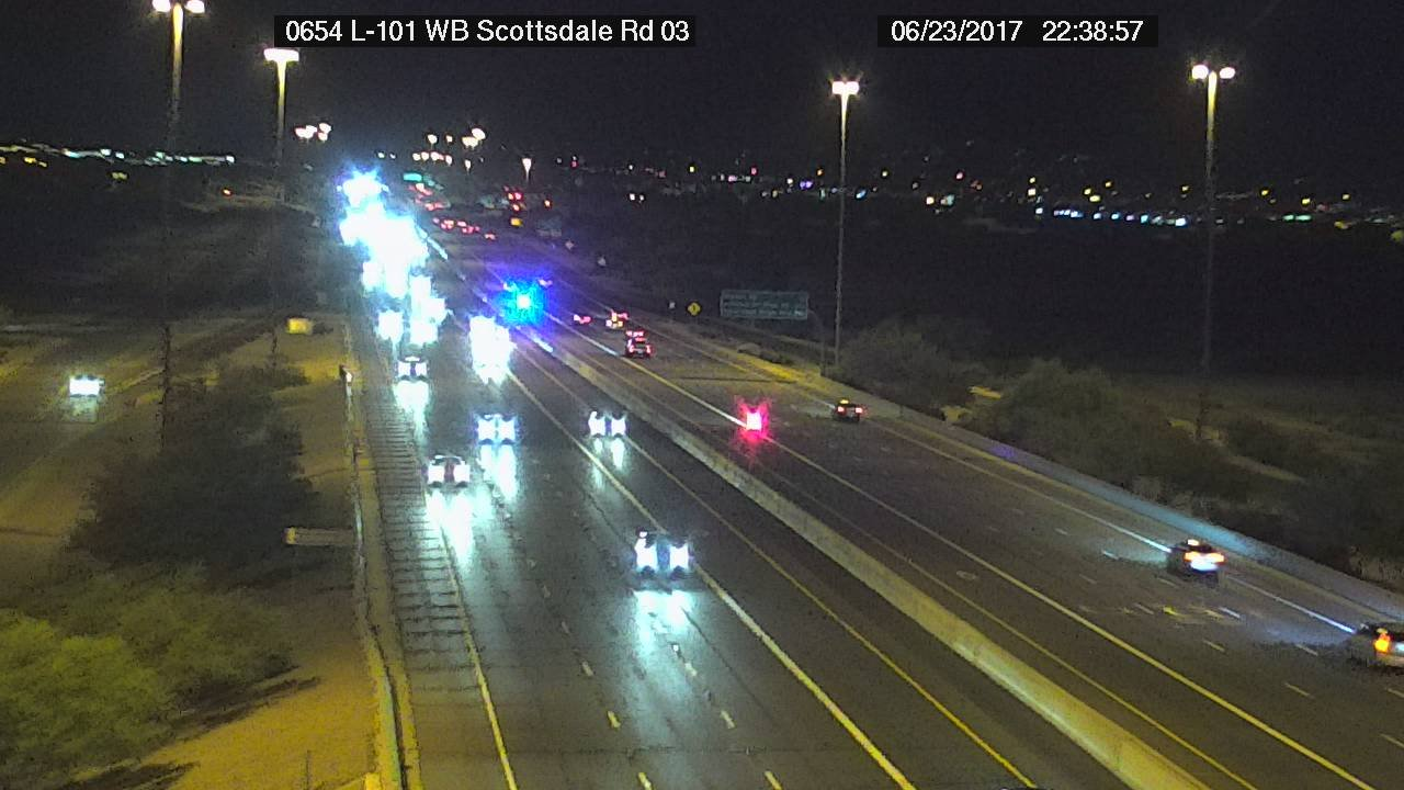 A driver was taken into custody after leading authorities on a short pursuit into Scottsdale Friday night. (Source: Arizona Department of Transportation)