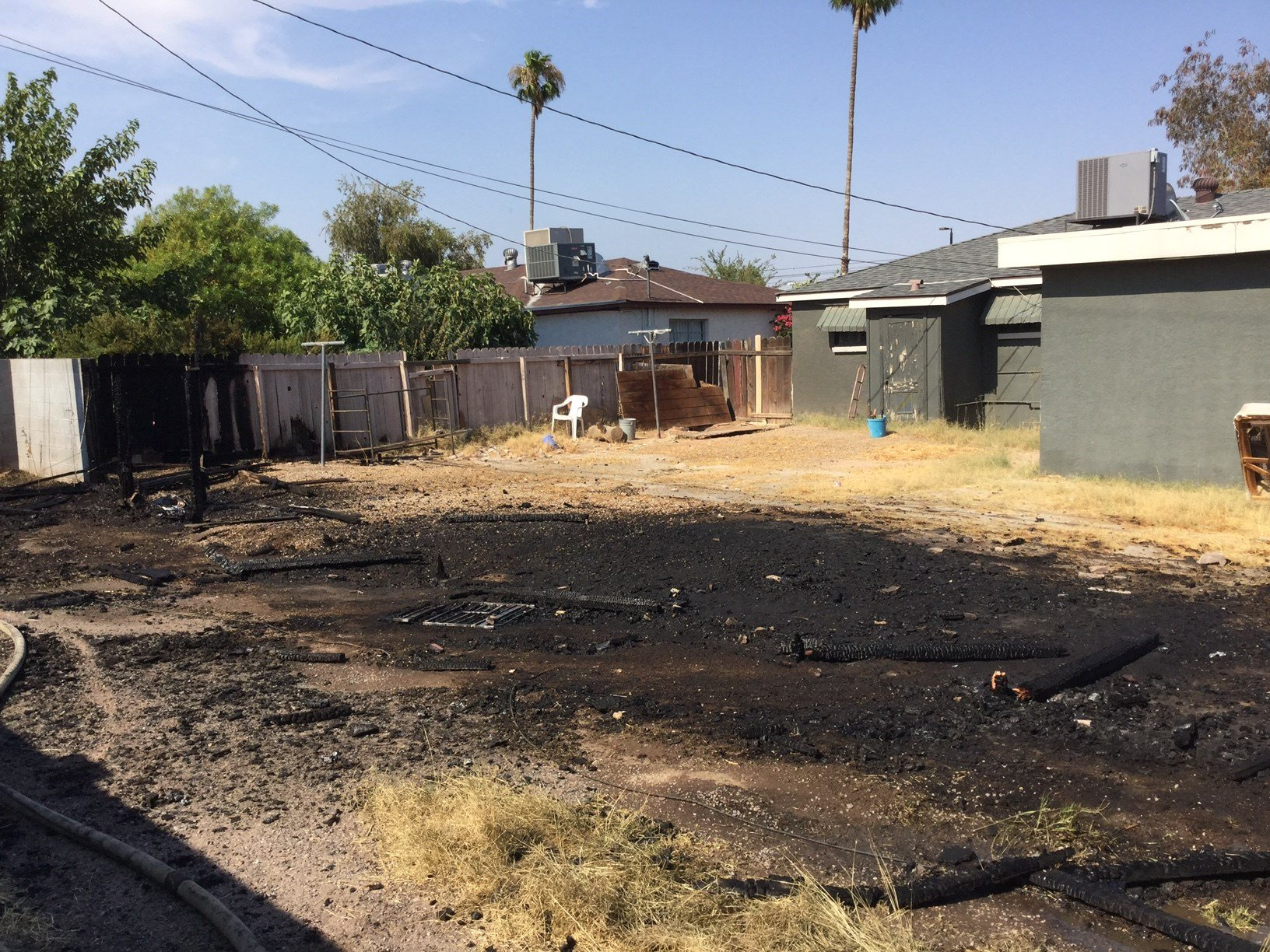 The ground is scared after a fence fire Saturday. (24 June 2017) [Source: 3TV/CBS5]