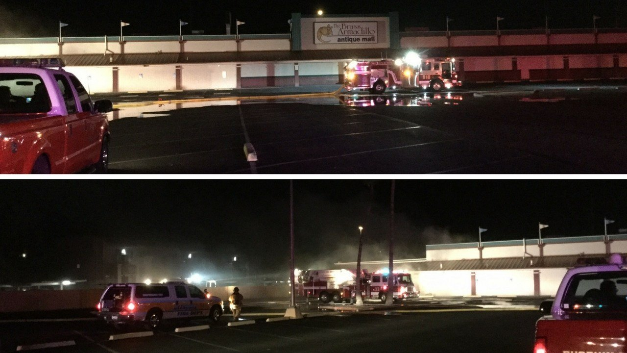 Fire crews from Phoenix, Glendale and Peoria responded to the commercial fire at the Brass Armadillo Antique Mall, located near I-17 and Cactus Road. (Source: Phoenix Fire Department)